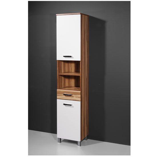 Elegance Baltimore Walnut White Tall Bathroom Cabinet With Images Bathroom Tall Cabinet Bathroom Cabinets Bathroom Cabinets Ikea