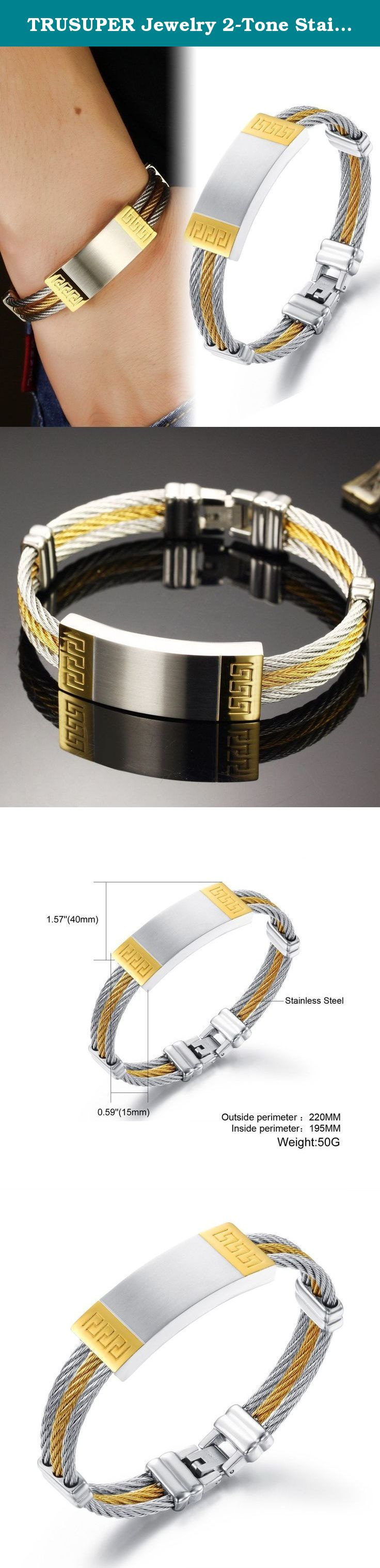Trusuper jewelry tone stainless steel k gold plated mens bangle