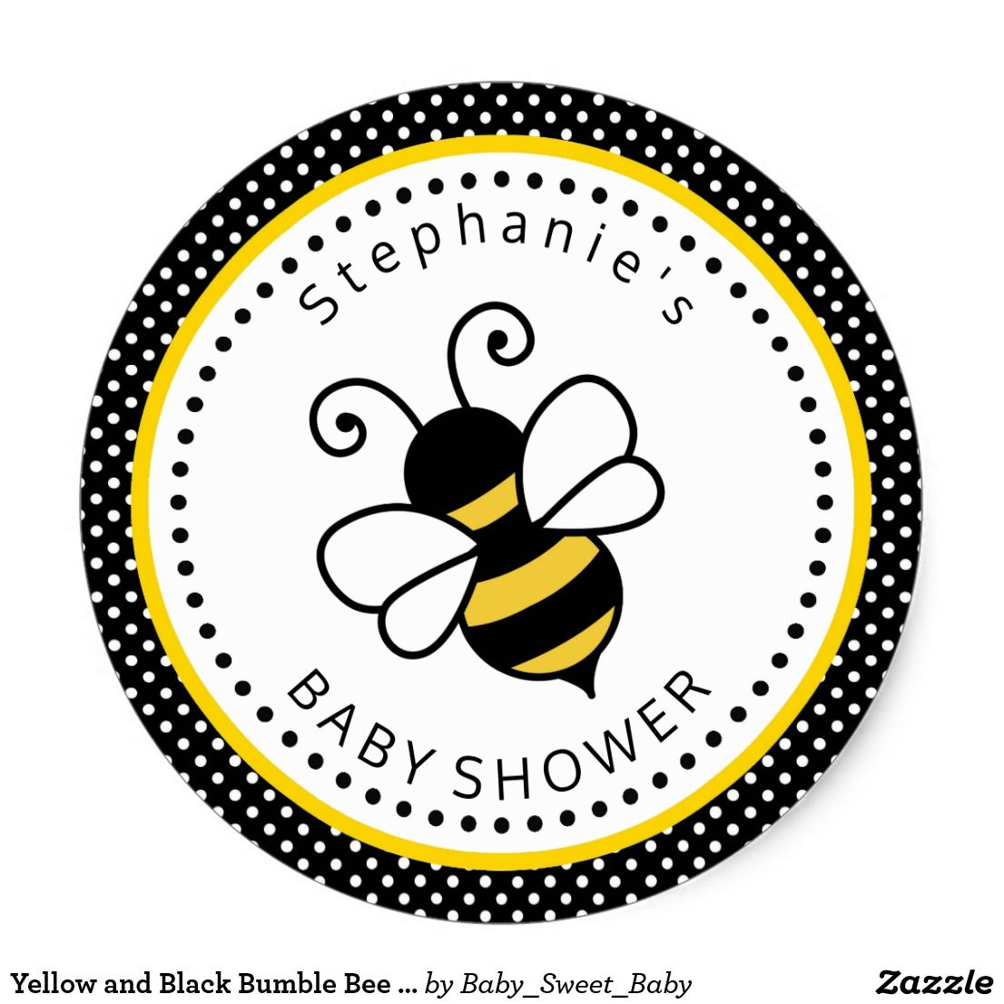 Yellow And Black Bumble Bee Stickers