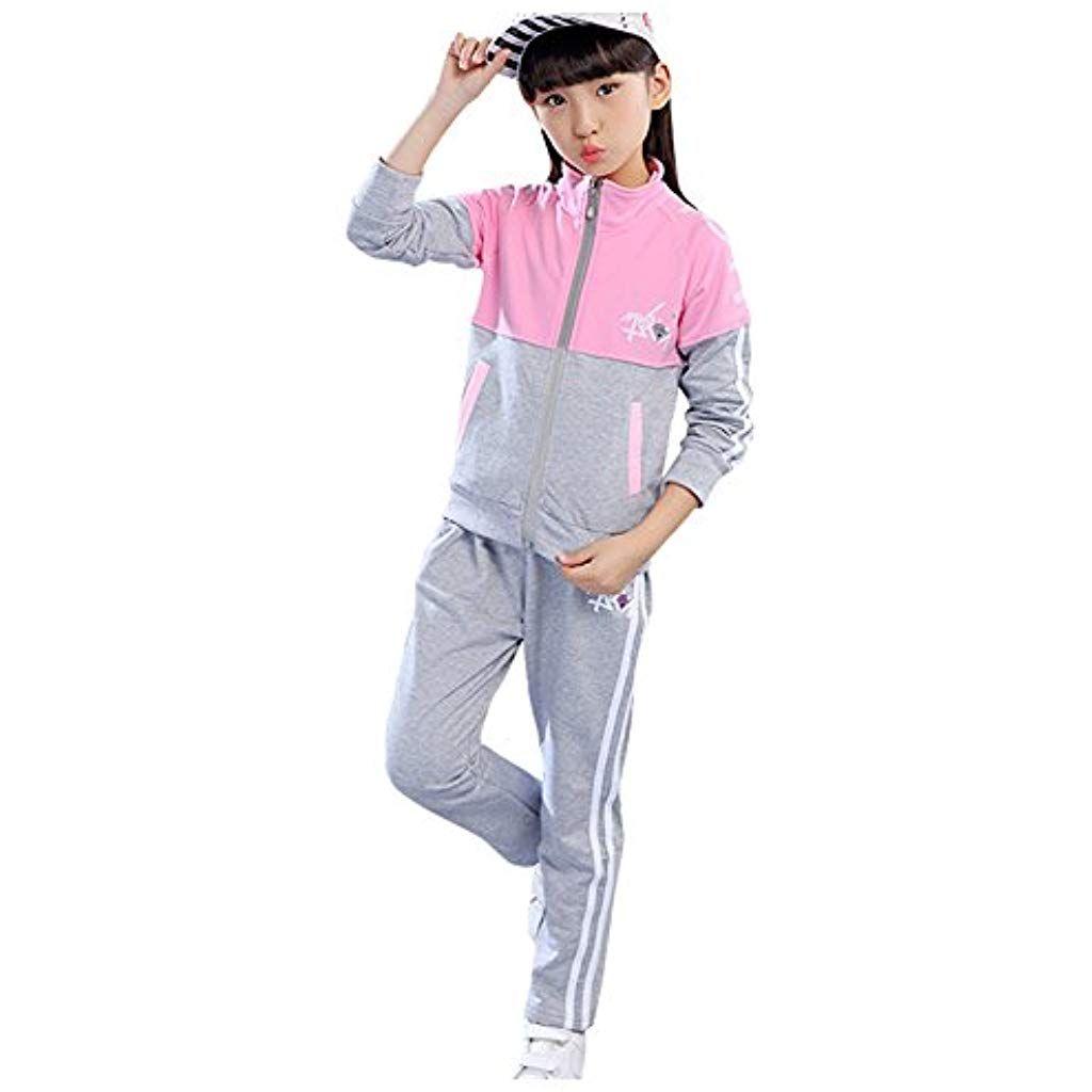 seriöse Seite näher an populärer Stil LSERVER Kinder Sportanzug Mädchen Jogginganzug Pullover und ...