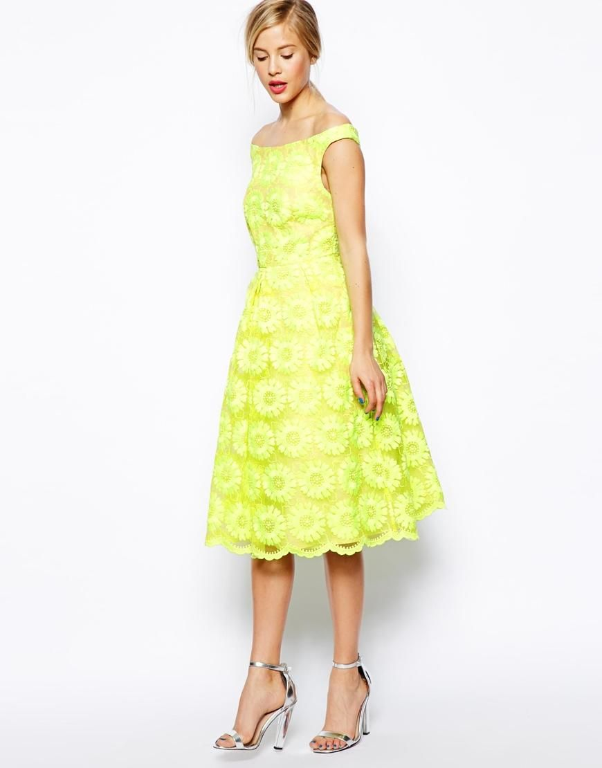 Asos wedding day guest dresses  ASOS SALON Prom Dress In Fluro pretty summer dress  Mums party