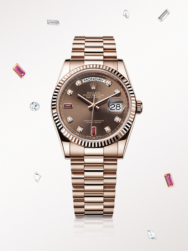 3eccc5ee329 The Rolex Day-Date 36 in Everose gold, with a diamond-set chocolate dial  and President bracelet.