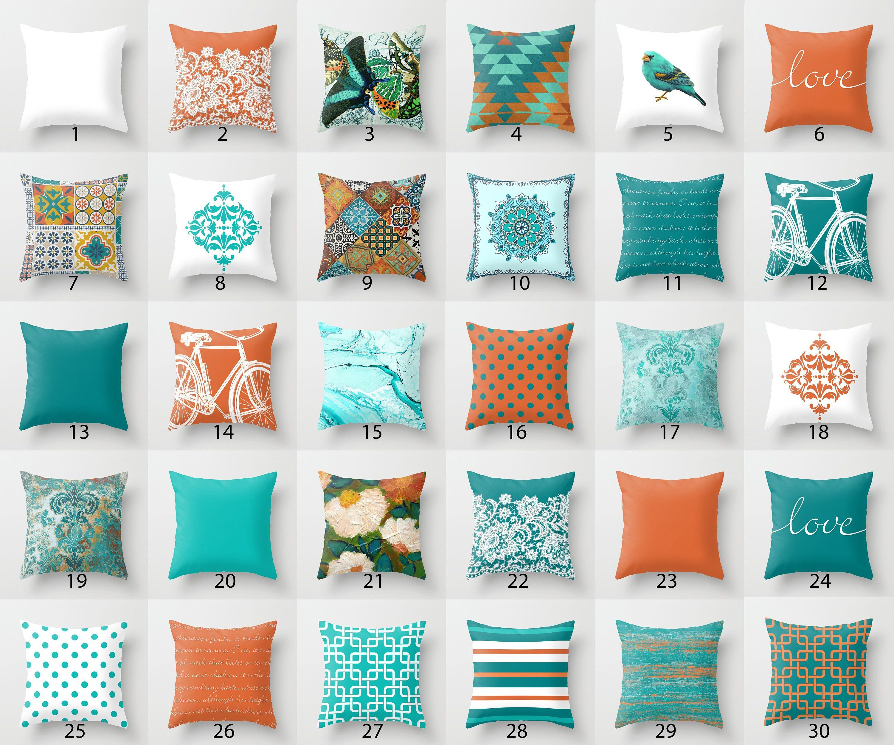 Orange And Teal Throw Pillow Mix And Match Indoor Outdoor Cushion