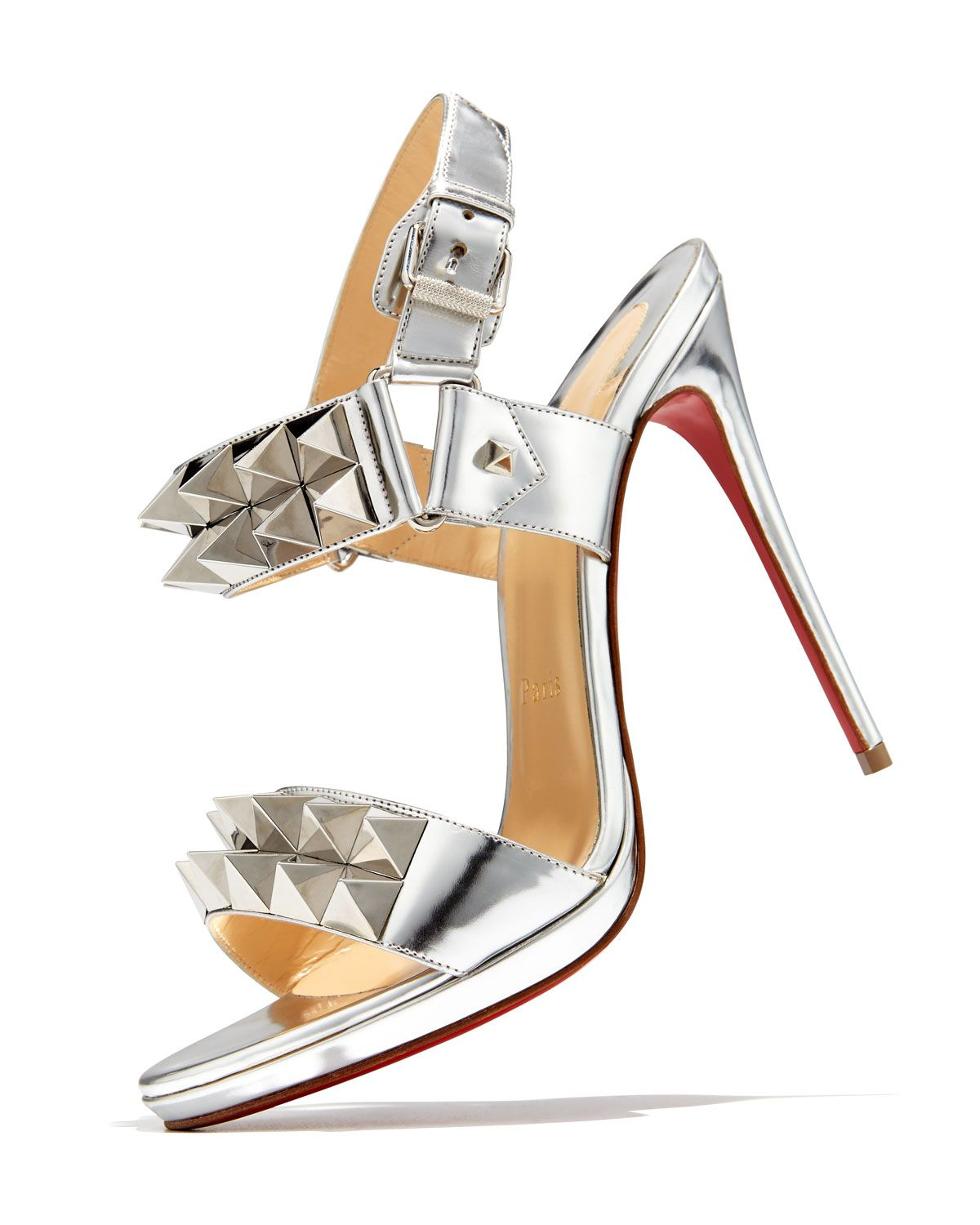 fd71deeff7c Christian Louboutin Miziggoo Spiked Two-Band Red Sole Sandal, Silver ...