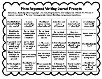 Menu Argument Writing Journal Prompt Argumentative Prompts