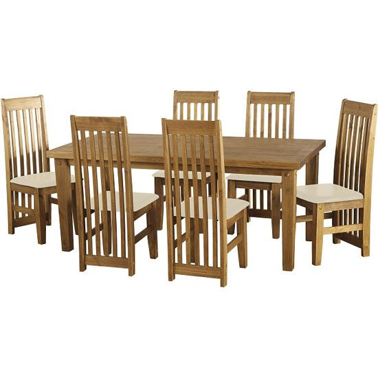 Tortilla Wooden Dining Table With 6 Cream Chairs Dining