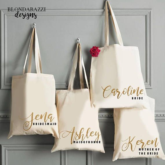 Small Bridesmaid Tote Bags-Wedding Welcome Bag-Bridal Party Bag-Personalized Bridesmaid Bags-Bridal Party gift-Bridesmaid Gifts-Wedding Tote