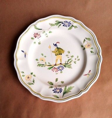 french dinner plates | Moustiers Dinner Plate 10  French Longch& Hand Painted 1960u0027s ... & french dinner plates | Moustiers Dinner Plate 10