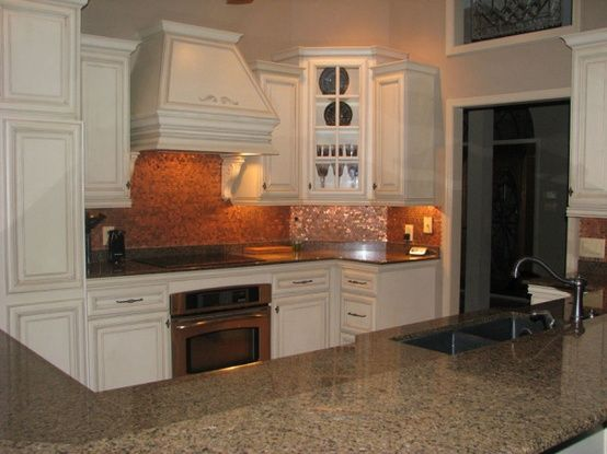 Copper penny backsplash love the tile just below the - Penny tile backsplash kitchen ...