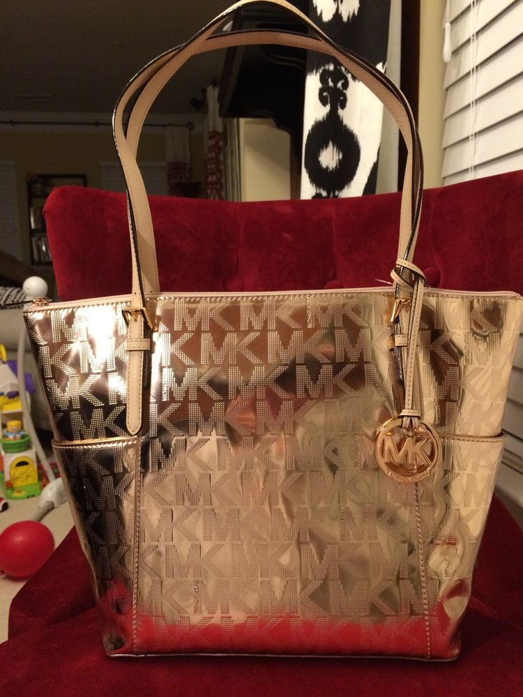 2b2d0ab50d04 NWT MICHAEL KORS MK SIGN. MIRROR METALLIC JET SET EW TZ TOTE BAG IN ROSE  GOLD  MichaelKors  TotesShoppers