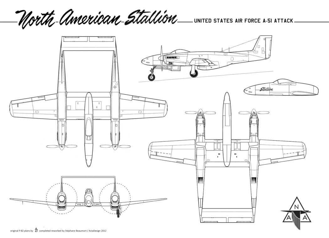 Here is at last the plan for the North American A-51