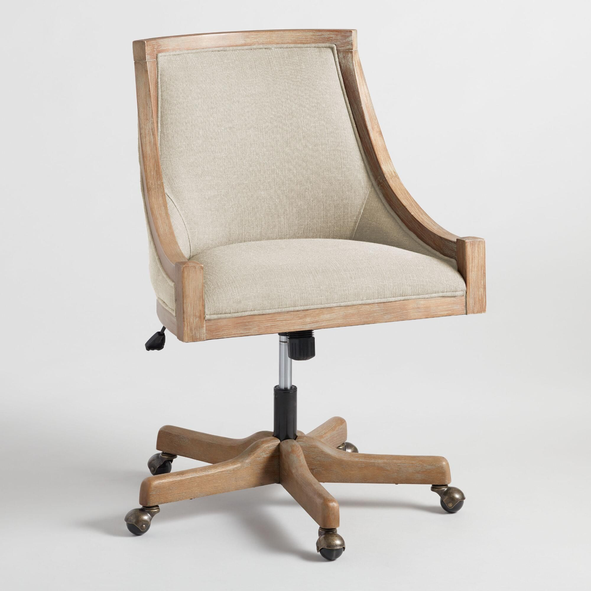 Linen Office Chair Natural Linen Henry Upholstered Office Chair By World Market In