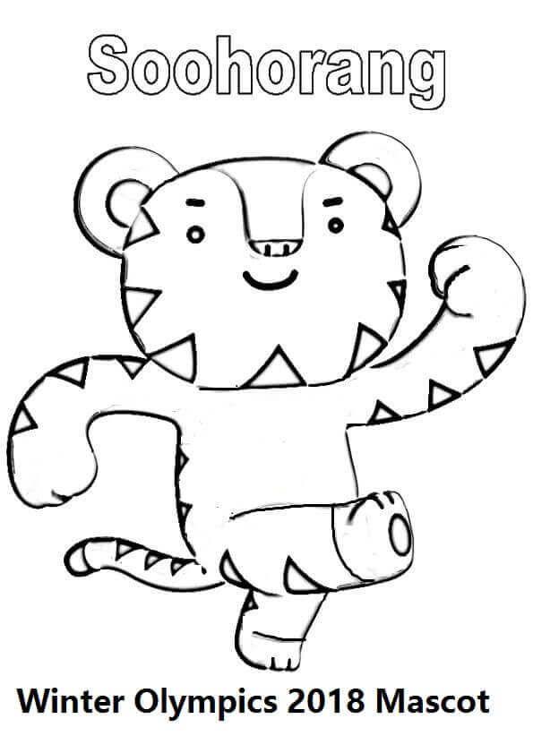 Winter Olympics 11 Mascot Coloring Page Soohorang, Olympics 11 ...