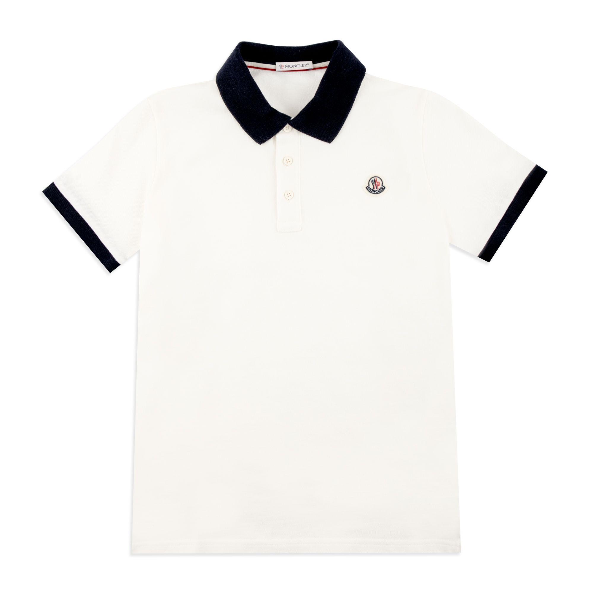 aed70e837 Boys Contrast Collar Polo - White by Moncler | Boys Polos | base ...