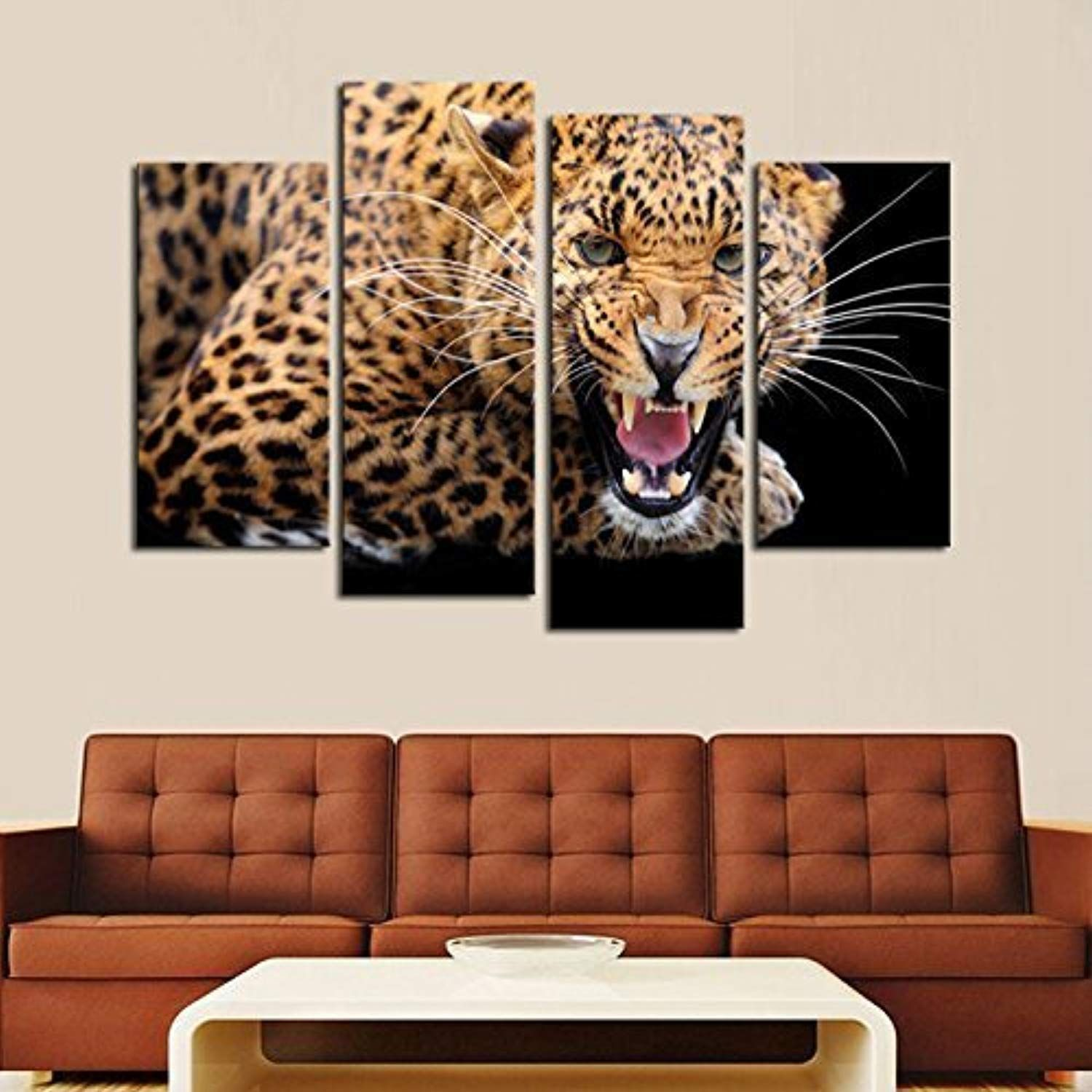 Geves 4 Panels Yellow Spots Leopard Print Canvas Painting