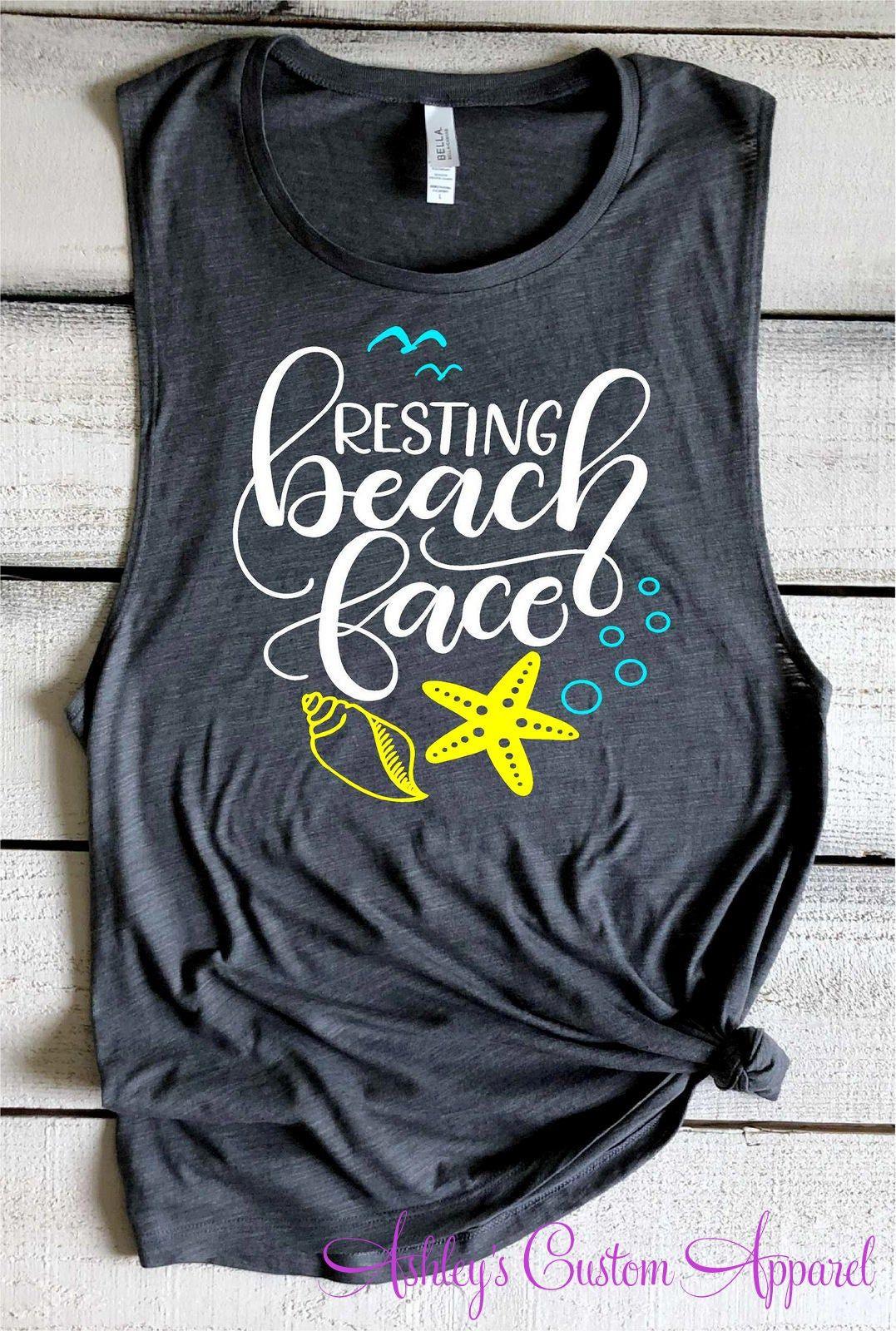 Beach Shirts Resting Beach Face Summer Vacation Tank Tops Funny Beach Shirt Beach Cover Up Girls Trip Shirts Beach Please Beach Bound Tee