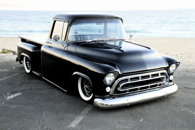 57 Chevy Pickup It Appears It Has A Deluxe Wrap Around Rear