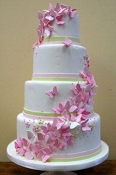 4 tiered cake. Girls custom cake with butterflies