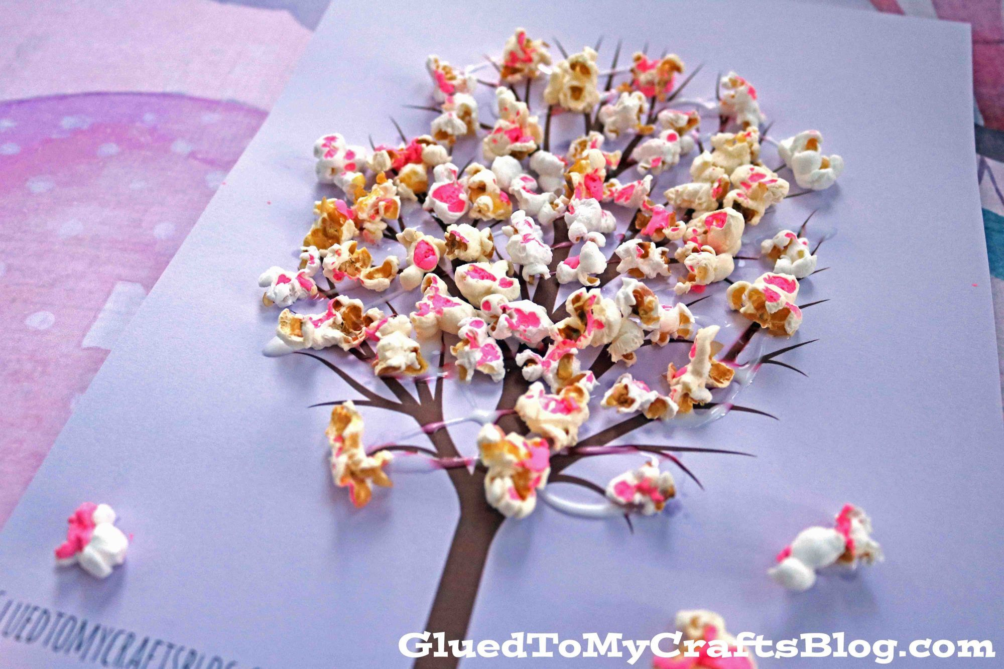 Cherry Blossom Popcorn Tree Kid Craft w/free printable template ...