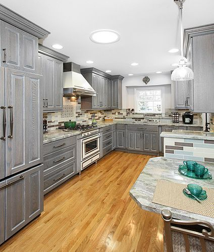Grey Kitchen Cabinets With Black Appliances: Grey Stained Oak Cabinets - Google Search