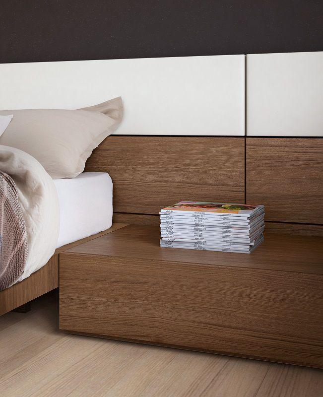 Cabecero para cama doble / moderno / de madera / con mesita de noche ...