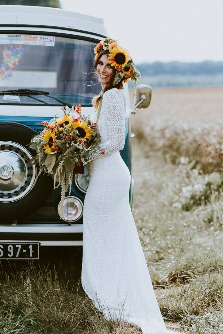 Beautiful Long Sleeve Wedding Dress Inspiration { Summer Bride & her sunflowers bouquet } #weddingdress #sunflowersbouquet #bouquet #summerwedding #longsleeve #weddinggown #bride