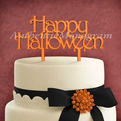 aMonogramArtUnlimited Happy Halloween Wooden Cake Topper Color - cake decorations for halloween
