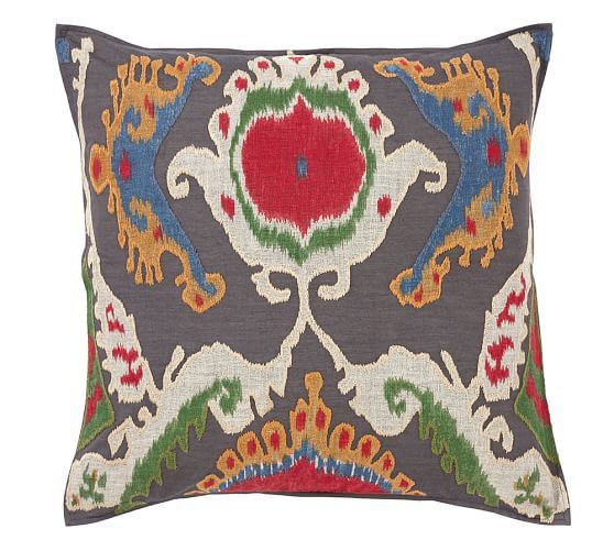 Mercer Ikat Applique Pillow Cover Pottery Barn Www