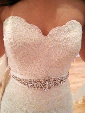 Bridal wedding dress rhinestone vintage beaded crystal for Vintage wedding dress belts