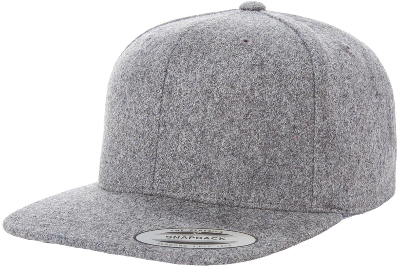Flexfit Yupoong 6689M Melton Wool Snapback Hat Wholesale  Heather Grey  6ae9aced20a2