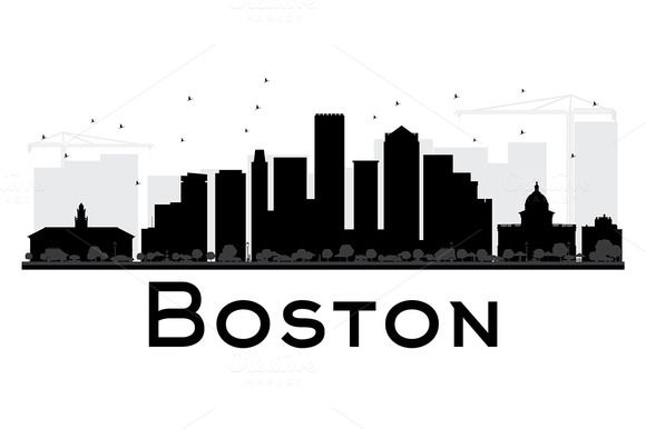 Boston City Skyline Silhouette With Images City Skyline Silhouette Boston Skyline Skyline Silhouette
