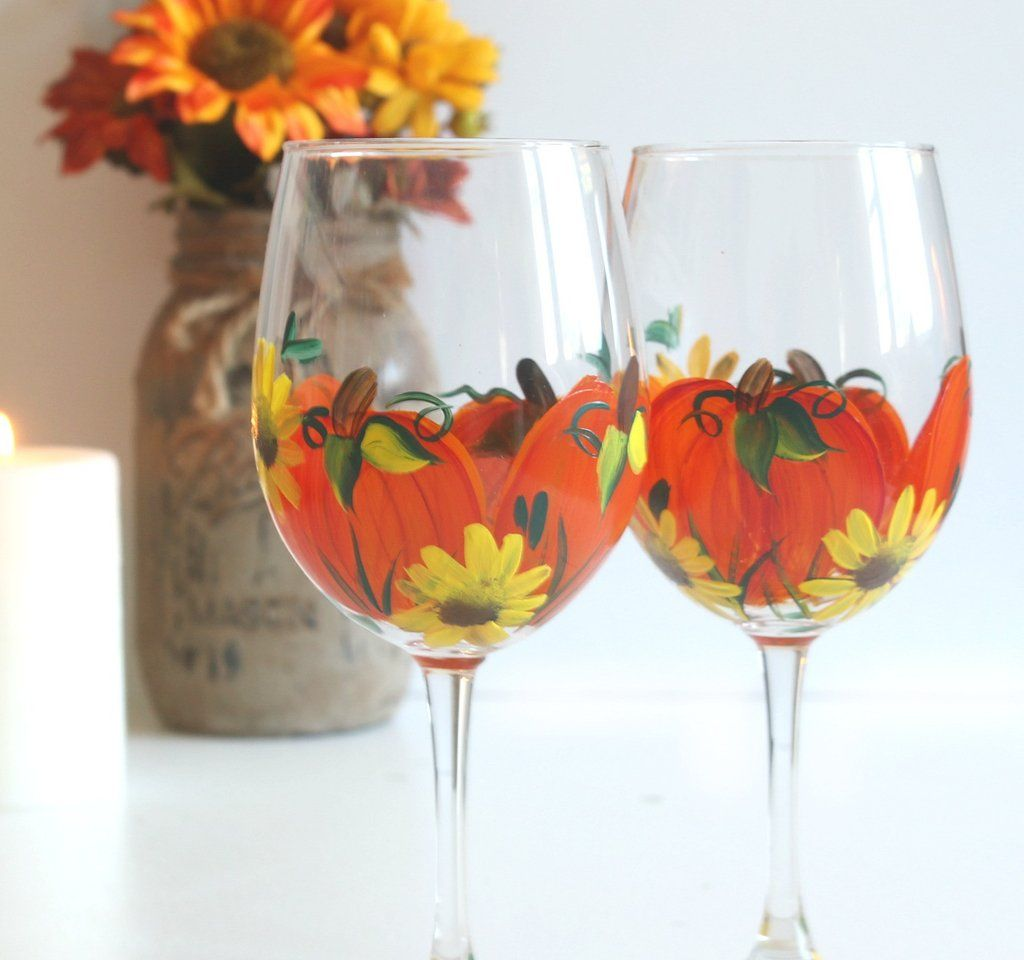 Our Hand Painted Wine Glasses Personalized Coffee Mugs Make Great Personalized Gifts For Weddings Br Fall Wine Glasses Birthday Wine Glass Painted Wine Glass