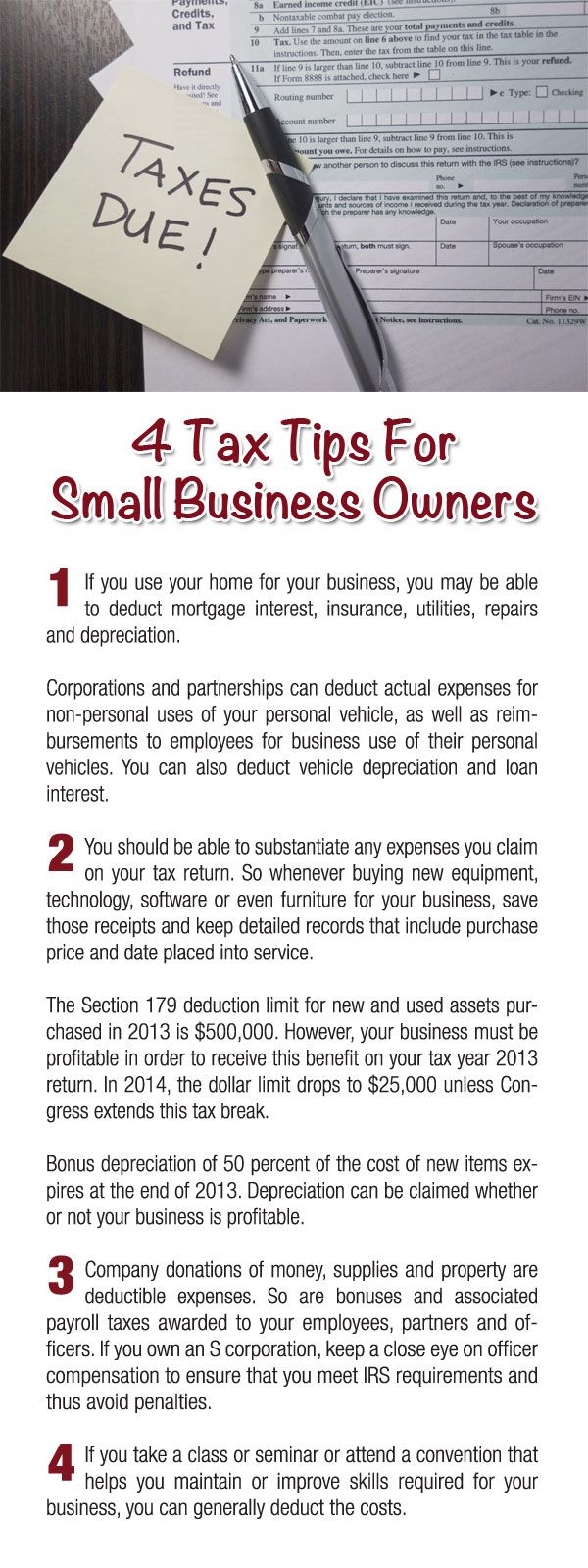 4 Tax Tips For Small Business Owners Tips Taxes Small Business Tax Business Tax Small Business