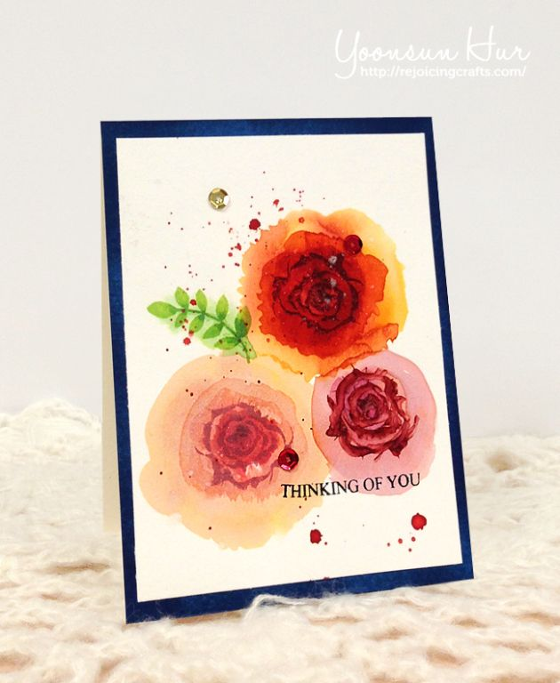 RejoicingCrafts: Watercolour card with Wplus9 Stamps Coming Up Roses Stamp Set. #Wplus9