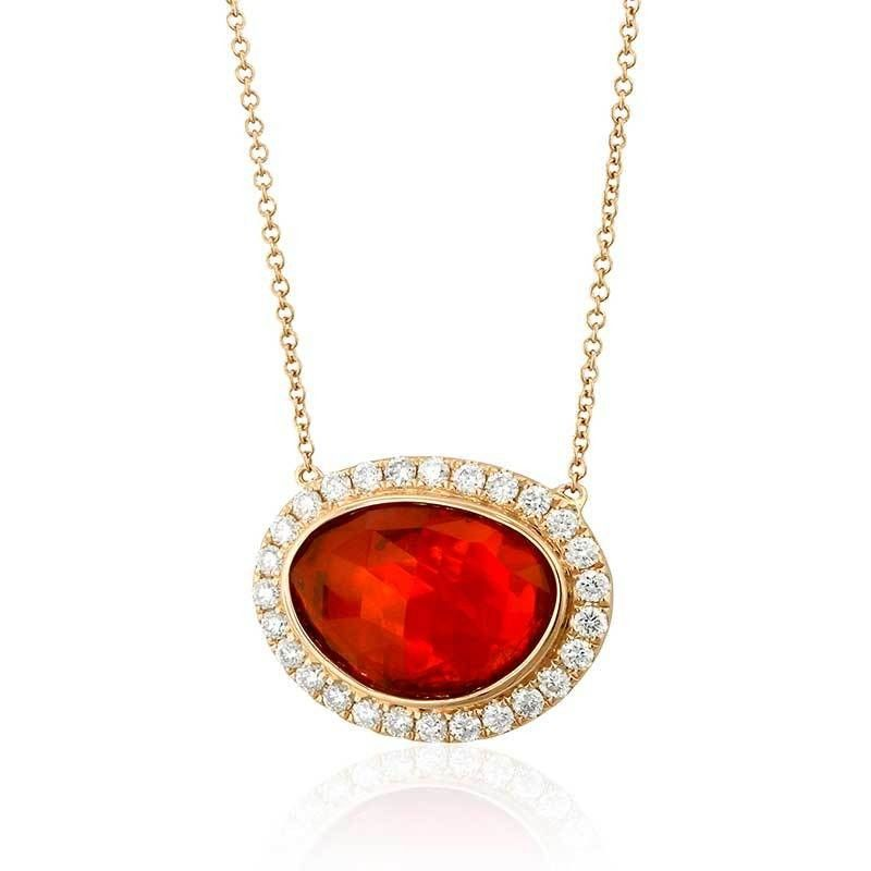 18k rose gold pendant featuring 4.81ct fire opal, accented with .61ct diamonds