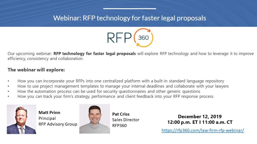 Matthew Prinn To Moderate Webinar With Rfp360 On Using Technology When Responding To Rfps Legal Rfp Rfpadvisorygroup Webinar Rfp Proposal