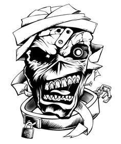 Diy Eddie Stencil Thrash Iron Maiden Iron Maiden Band Skull