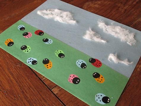 Easy craft- Thumbprints, googly eyes and cotton glued on construction paper