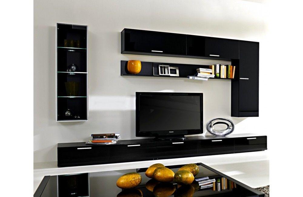 Meuble noir brillant meuble noir laqu meubledesalon meuble de salon tv unit design for Meuble de salon noir