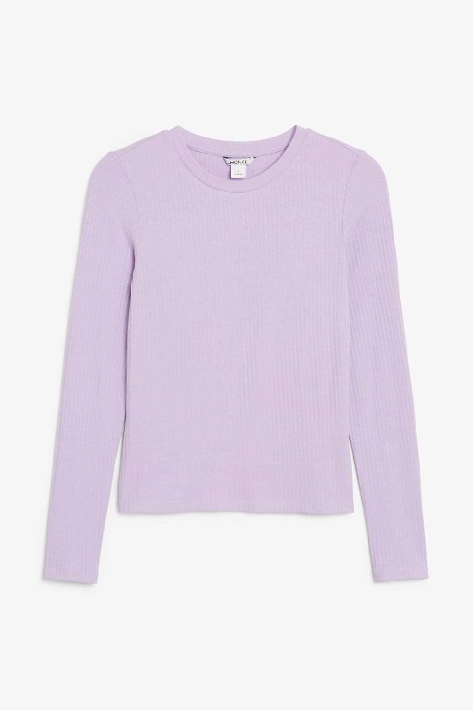 Sleeved Lilac Candy Tops Monki Long Top DkStyle Ribbed 6gfvb7IYy