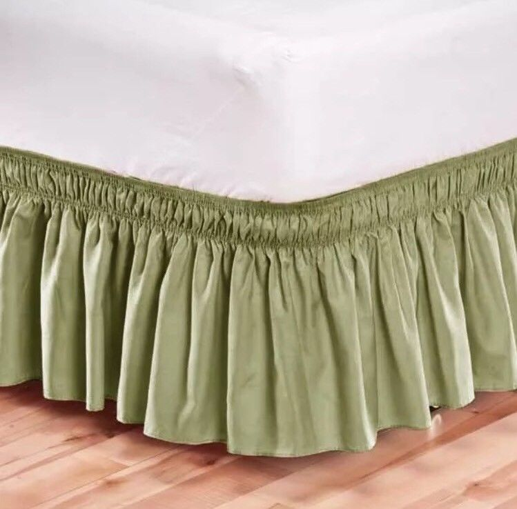 Elastic Bed Skirt Dust Ruffle Easy Fit Wrap Around Sage Green Color Queen King Linenplus Bedskirt Dust Ruffle Ruffle Bed Skirts Green bed skirt queen