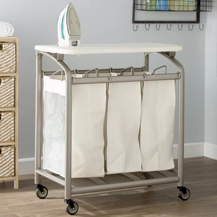 Laundry Sorter Hamper With Folding Table In 2020 Laundry Sorter Folding Laundry Laundry Sorter Hamper