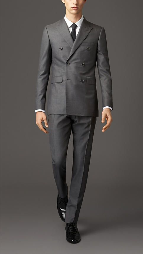 92c440c041aa0 Burberry Dark Grey Melange Modern Fit Wool Silk Double-Breasted Suit - A  modern fit double-breasted suit crafted from a wool silk blend. The jacket  has a ...