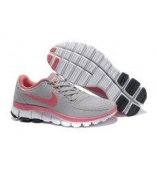 the latest 2f05e 454ec Nike free 5.0 v4 femme chaussures de course rose grise loup Soldes-20