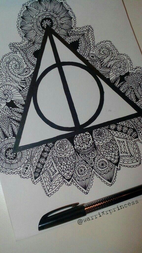 Heiligtmer Zeichnung Mandala Doodle Potter Harry Todes Die Desheiligtumer Des Todes Harry Potter Drawings Harry Potter Zentangle Harry Potter Tattoos
