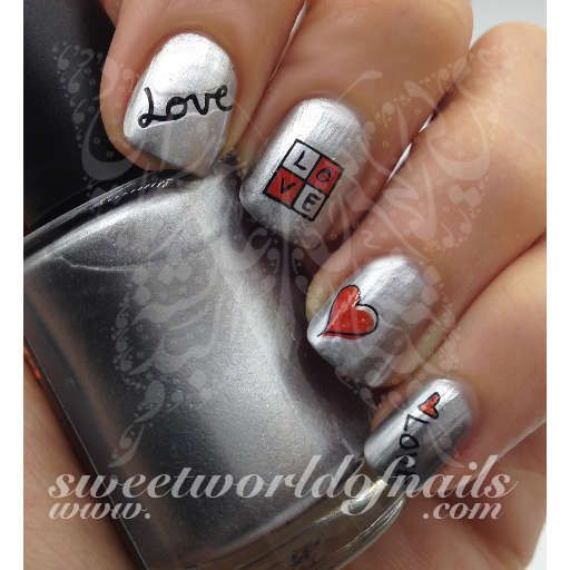 Love Word Red Heart Valentines Day Nails Water Decals Transfers
