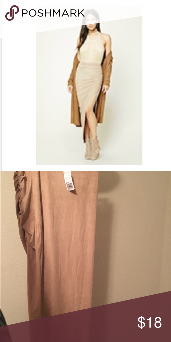 Runched Faux Suede Skirt Runched slit, maxi length, soft feel Forever 21 Skirts Asymmetrical