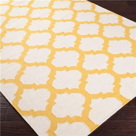 yellow ironwork trellis dhurrie rug - shades of lightt