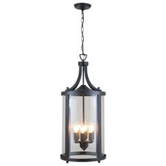 DVI Lighting DVP4476HB-CL Niagara Outdoor 6 Light Hanging Lantern in Hammered Black with Clear Glass