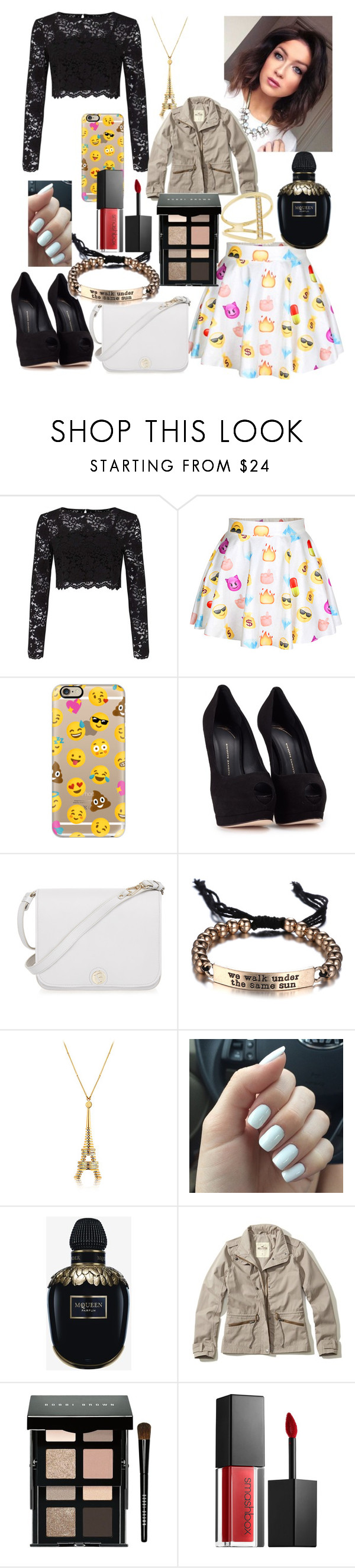 """Emoji Princess"" by stilinski-obrien24 ❤ liked on Polyvore featuring Miss Selfridge, Casetify, Giuseppe Zanotti, Furla, Alexander McQueen, Hollister Co., Bobbi Brown Cosmetics, Smashbox and Sydney Evan"